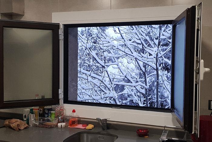 Зима окно